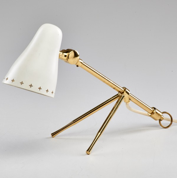 Boris Lacroix (Attr.) brass tripod lamp, estimate $800-$1000 (August 29, 2015 Rago Arts auction)