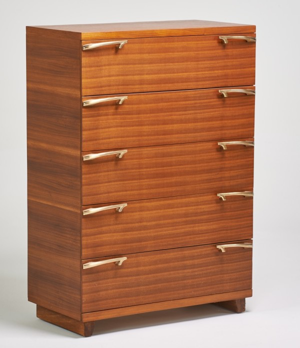 American, five-drawer walnut dresser, 1940s, estimate $200-$300 (August 29, 2015 Rago Arts auction)