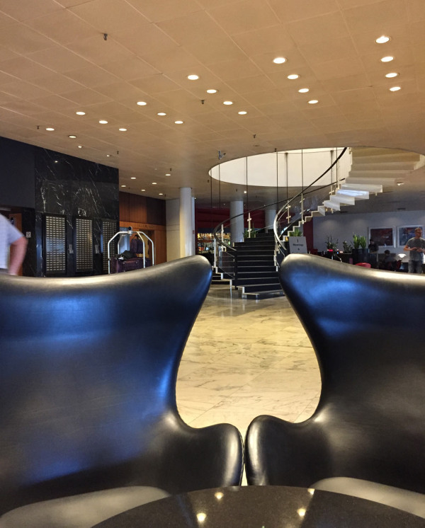 Lobby of the SAS Royal Hotel (now Radisson Blu) designed by Arne Jacobsen