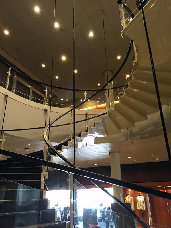 Stairs at the SAS Royal Hotel (now Radisson Blu) designed by Arne Jacobsen