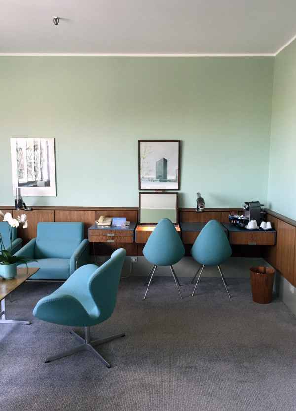 A room remains untouched, left the way Arne Jacobsen designed it.