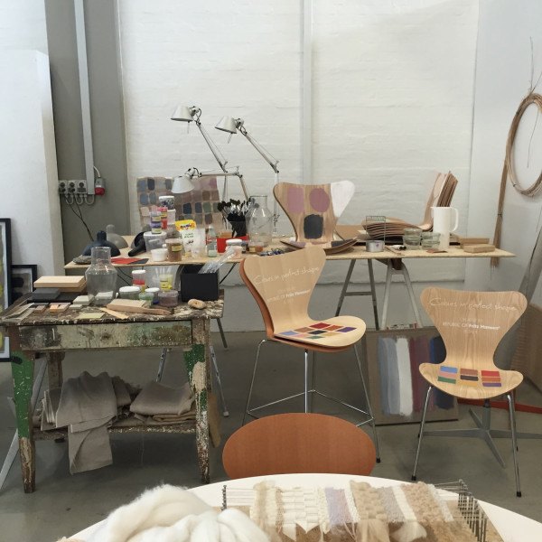 Studio set-up at the Fritz Hansen headquarters showing how the chair colors came about with Tal R.