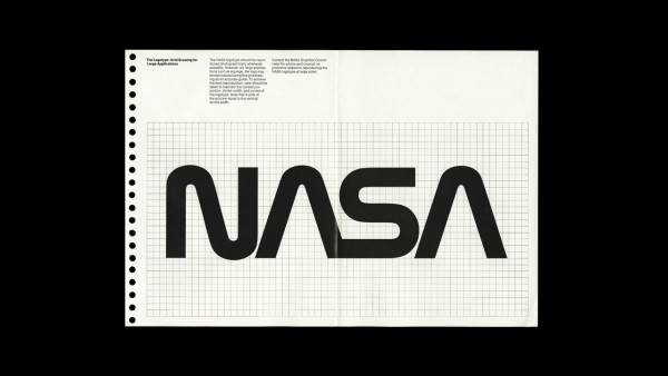 A page spread from the original manual showing NASA's worm logo