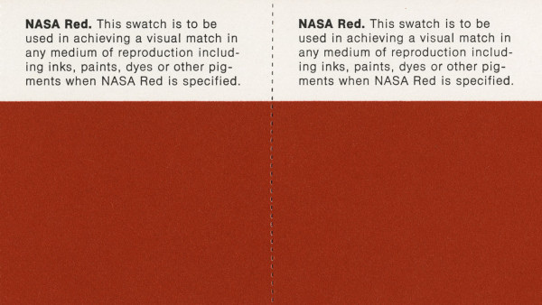 Closeup of NASA Red color swatches