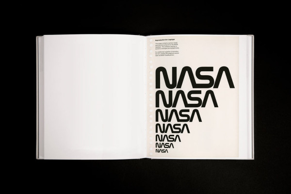 Rendering of a page spread from the NASA Graphics Standards Manual Reissue