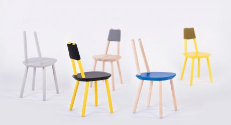 A Flat-Packed Chair Made of a Seat and Six Sticks