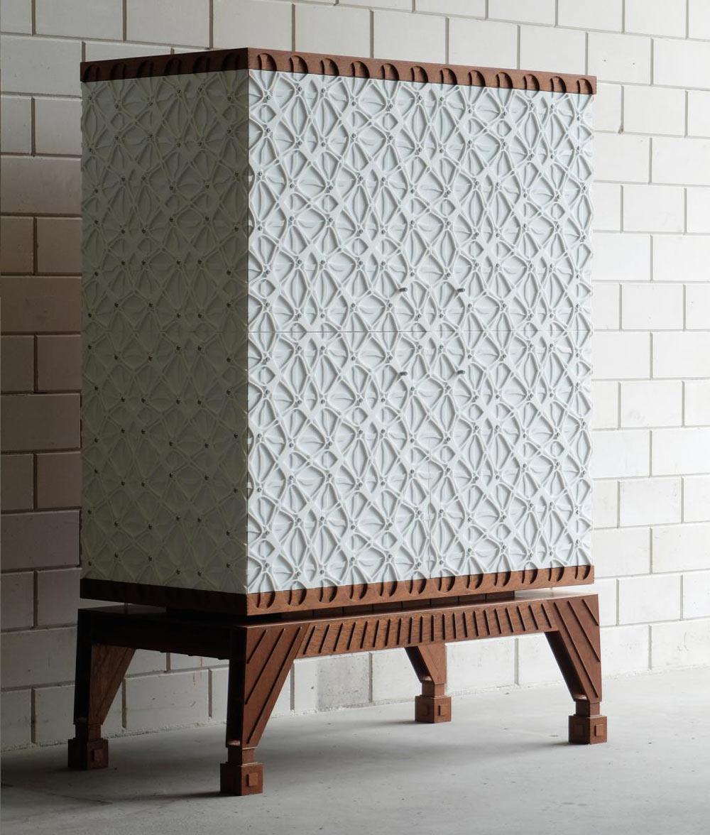Regina: A Laser Cut Mahogany & Acrylic Cabinet