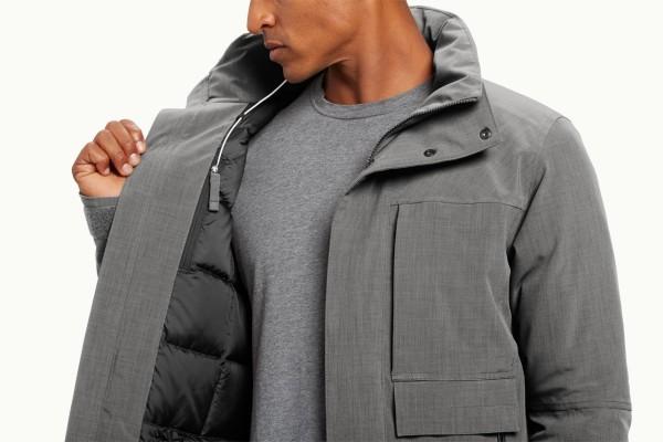 Men's Gray Recycled Down Jacket | Design Milk