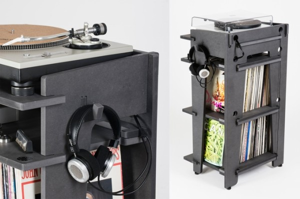 Power and audio cables are easily routed out of view thanks to a six holes in the rear, while lifted lip stops keep record collections neatly aligned. A small groove in 3 locations are there for showing off your favorite albums.
