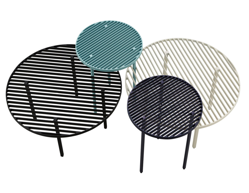 A Set of Cast Aluminum Tables with Linear Patterns