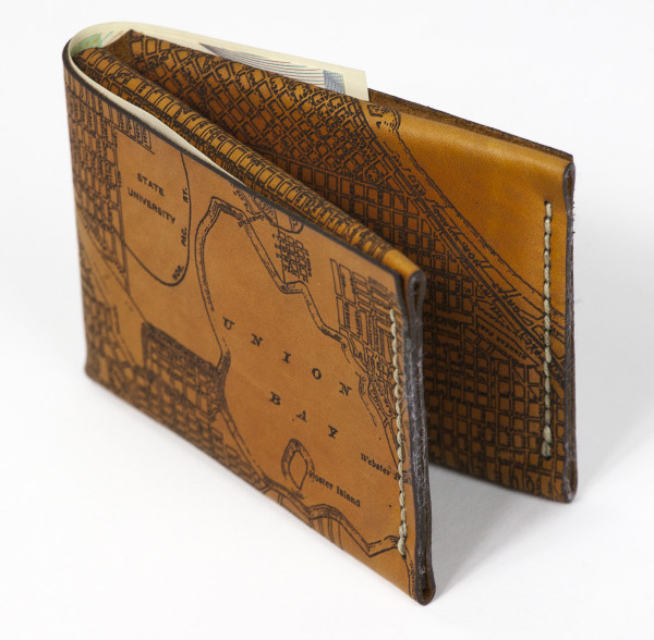 Glowforge engraved leather wallet