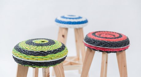 Stools Made From Discarded Fans and Scrap Wire