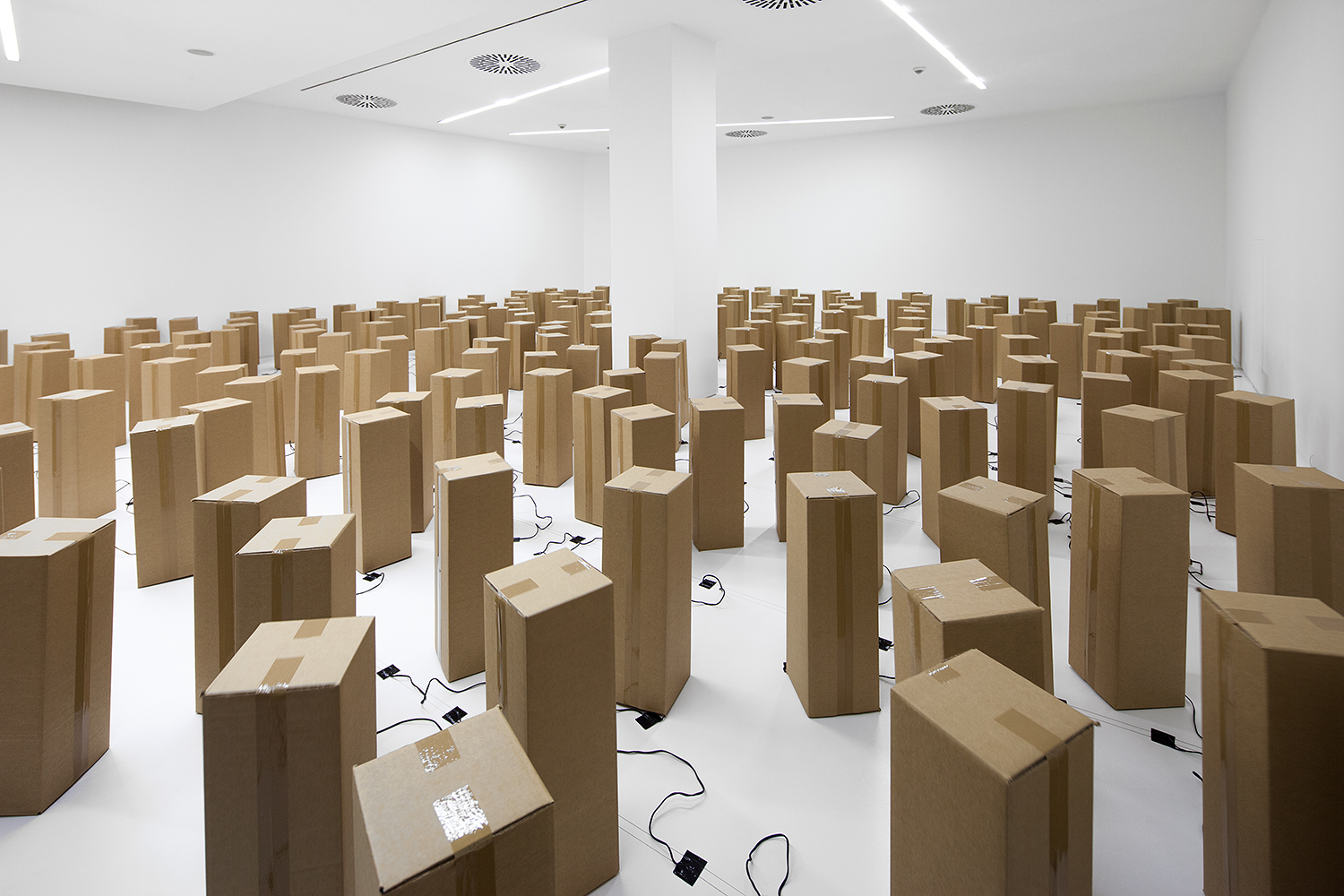 Sound amp Art Installation Out Of Cardboard Boxes Design Milk