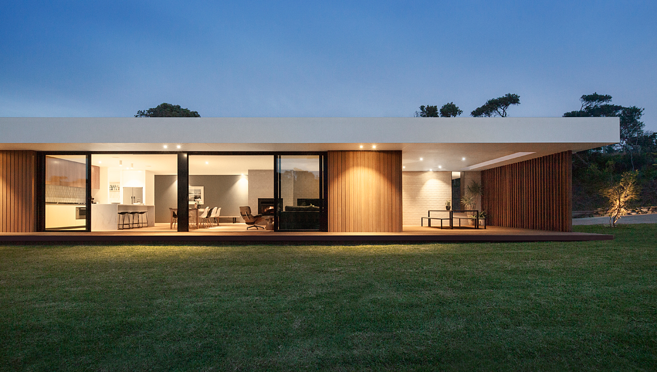A wood and glass holiday house in australia design milk for Holiday house plans