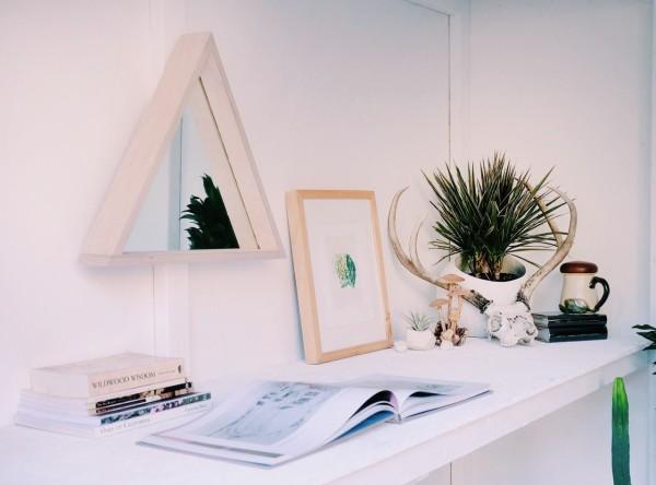 MFEO Troika reclaimed wood mirror; Aventurine Mix prints by Hamish Robertson.