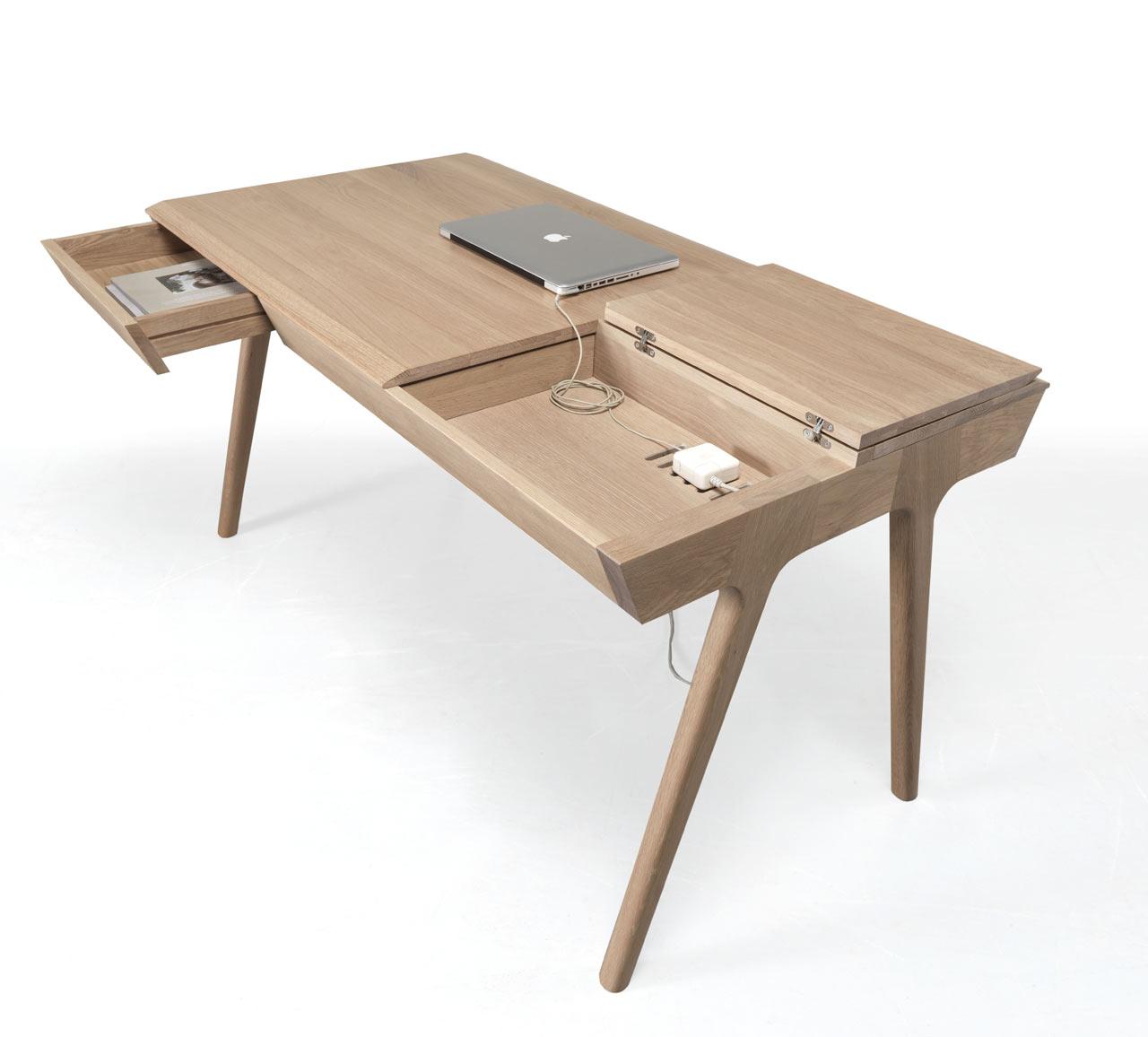 metis a solid wood desk with plenty of storage - Wood Desk Design