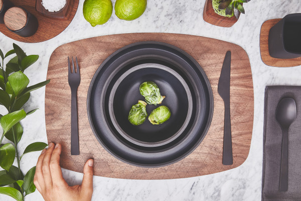 Grovemade - Tabletop Collection - White Ceramicware - Overhead Shot - Walnut Placemant