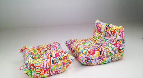 Ligne Roset Partners with Artist Jon Burgerman on Doodle Art Fabric