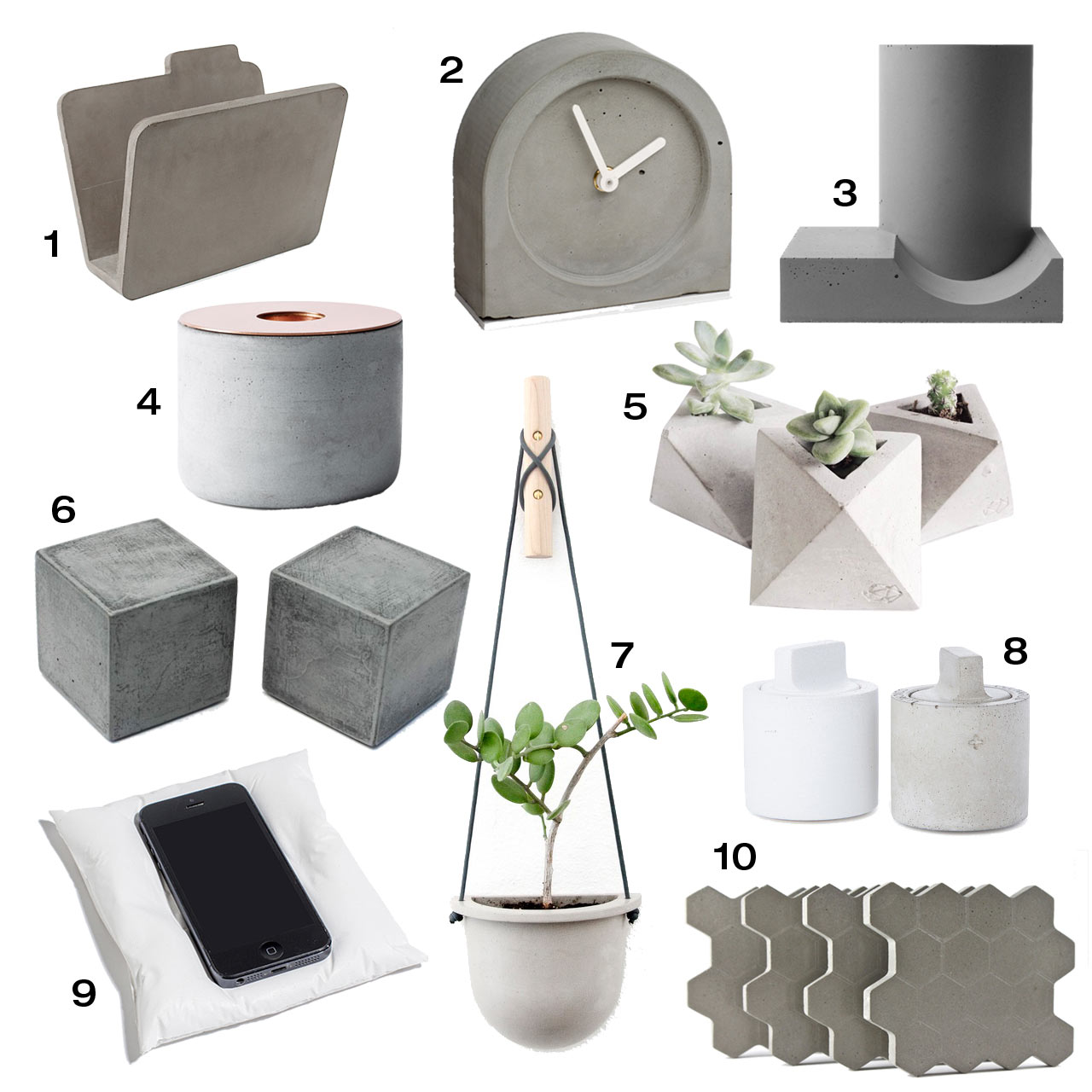 10 modern concrete accessories design milk Modern furniture home accessories