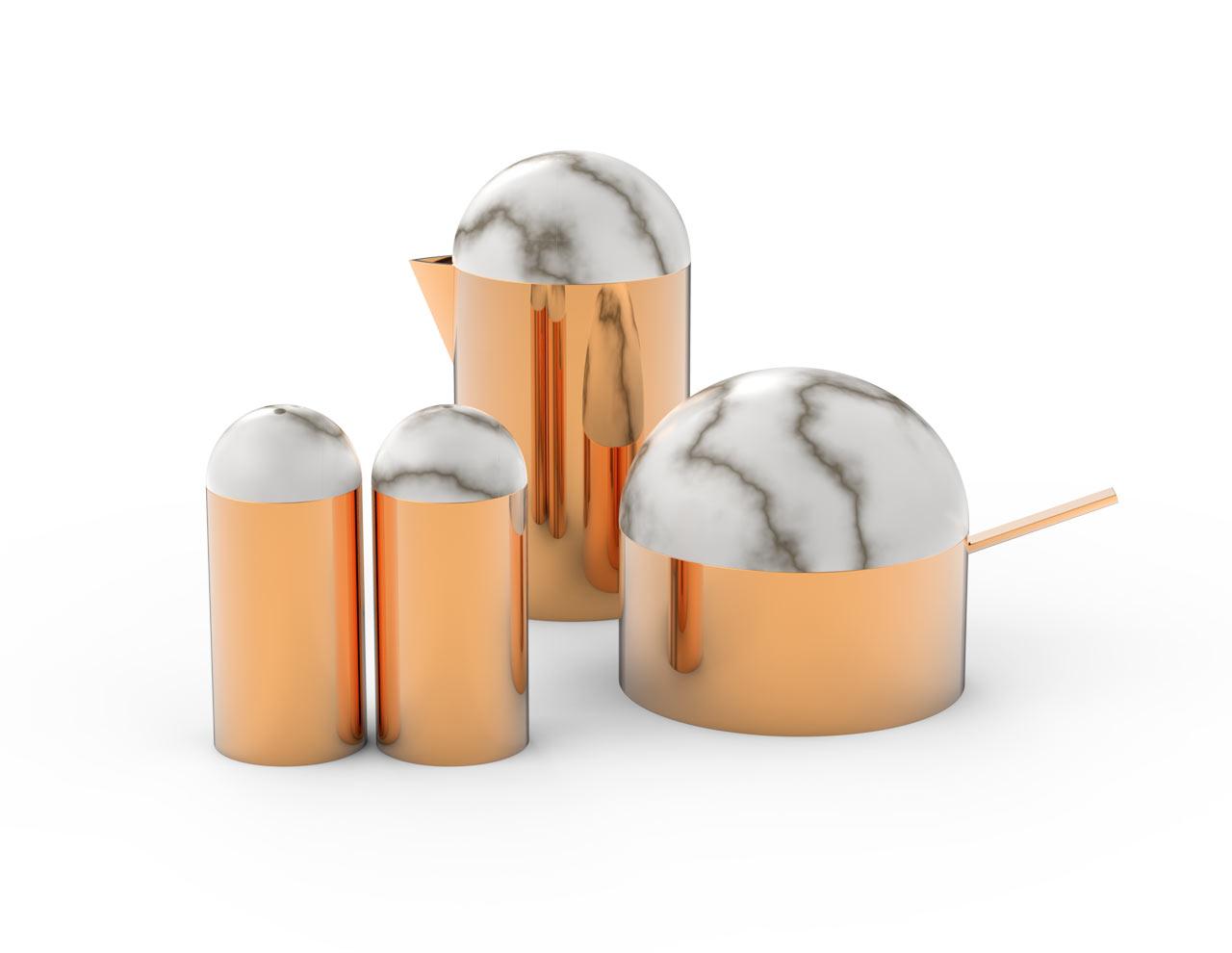 Serving Sets that Combine Metals with Alabaster