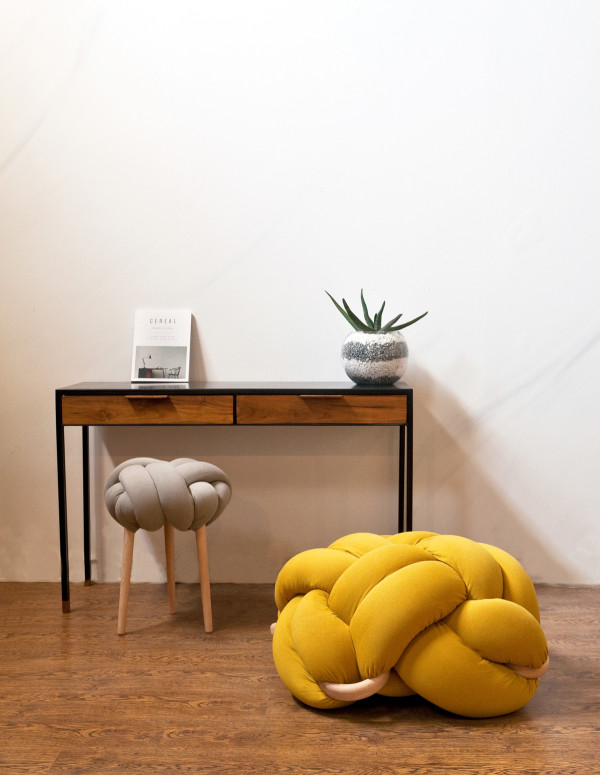 Grey knot stool+ L Mustards Knot cushion