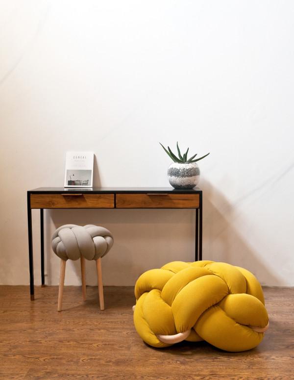 Grey knot stool+ L Mustards Knot cushion