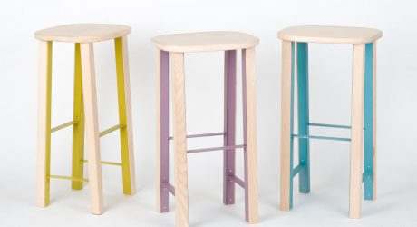 A Flat-Pack, Wooden Stool with a Metal Structure