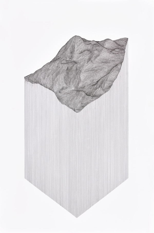"Projected Terrain, 2015 24"" x 36"" pen on 140 lb paper"