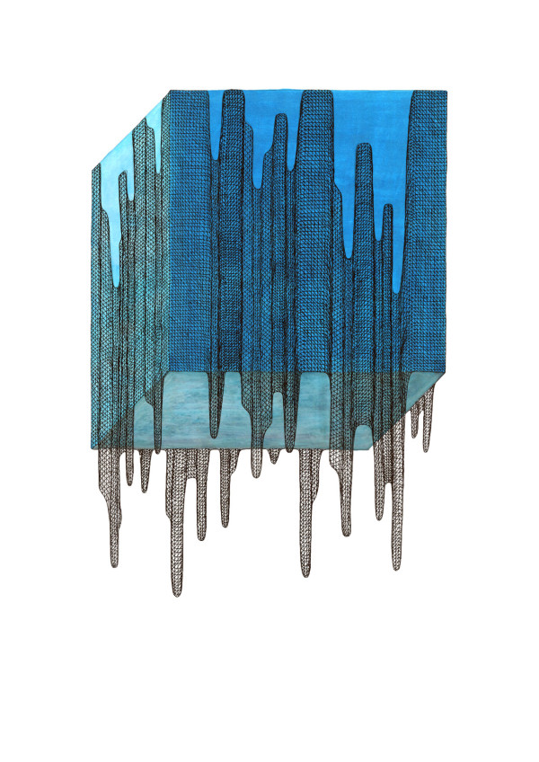 """Sky Cube, 2015 11.75"""" x 16.5"""" pen and ink on 140 lb paper"""