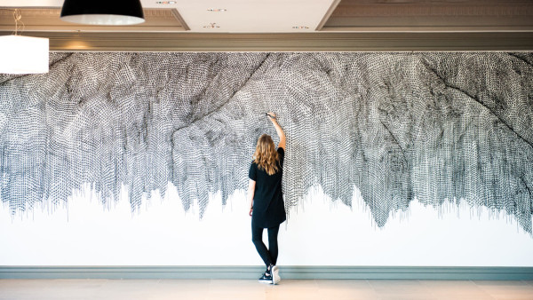 Unraveling Net, 2016 Mural at 3400 West Olive in Burbank, CA inside the newly opened Networks Cafe through Branded Arts 9 ft x 27 ft Montana acrylic marker on wall. Photo by Mark Skovorodko