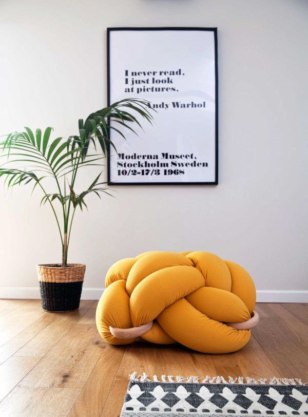 mustard Knot cushion photographer- Ami Tesler