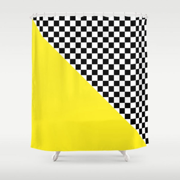 yellow-checkered-shower-curtains