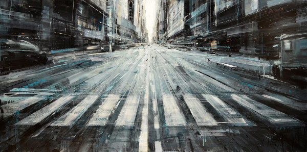 Driving on Madison Avenue, 2013, oil on panel, 24x48in