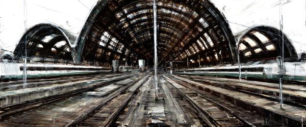 FS Milano C.le, 2011, oil on panel, 48x18in
