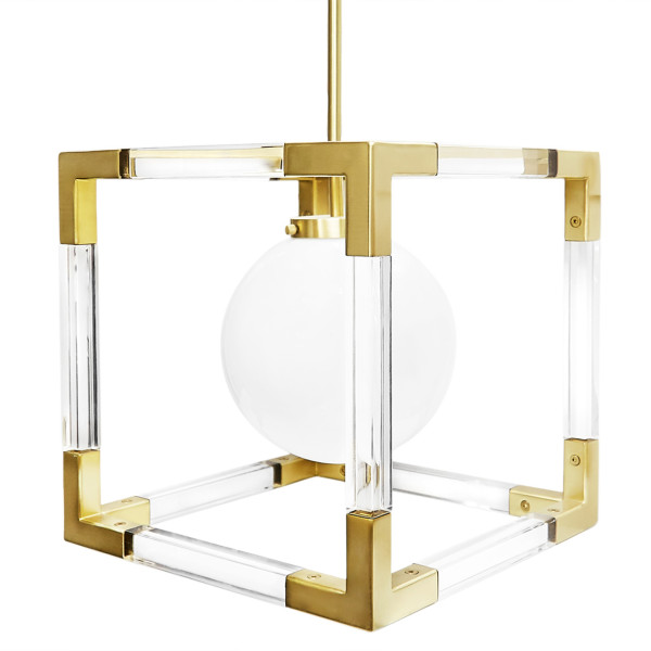 Jacques Pendant in Clear Lucite and Brushed Brass