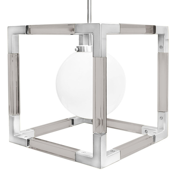 Jacques Pendant in Smoke Lucite and Polished Nickel
