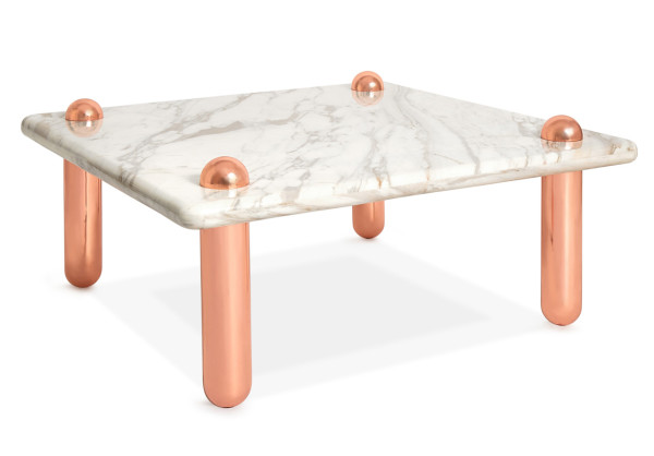 Ultra Cocktail Table in Rose Gold and Carrara Marble