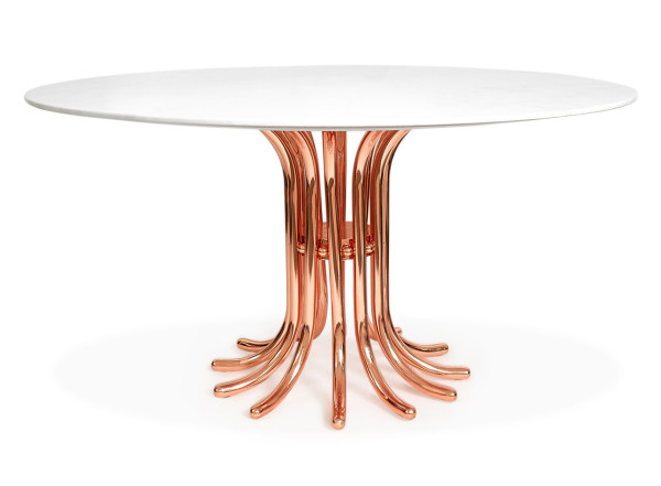 Ultra Dining Table in Rose Gold and Carrara Marble
