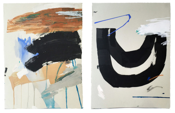 "Wanderings I & II \\ 30"" x 22"" acrylic, pigment, collage on paper"