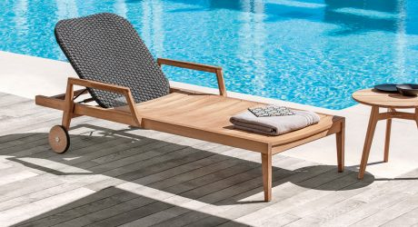 An Outdoor Collection Made of Wood & Woven Fabric Fiber