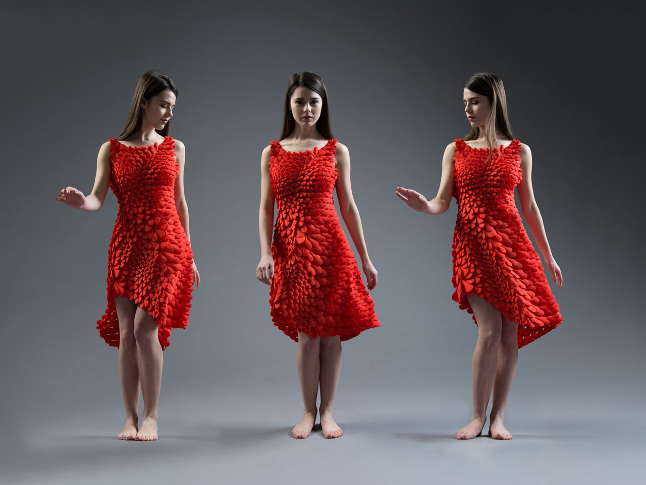 A 3D Printed Dress Inspired by Petals, Feathers, & Scales