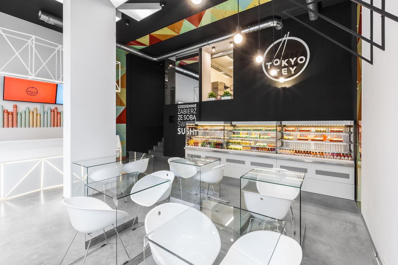 Sushi restaurant inspired by the colors of design milk