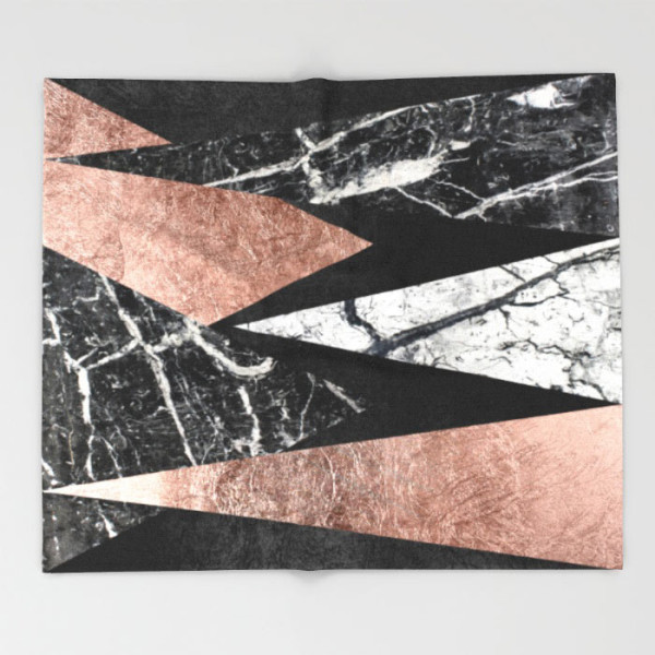 elegant-modern-marble-rose-gold-black-foil-triangles-throw-blankets