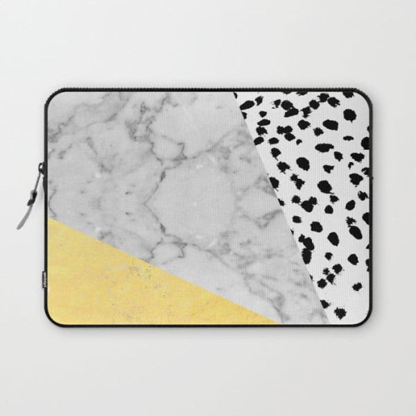 marble-gold-dots-modern-gold-foil-laptop-sleeve