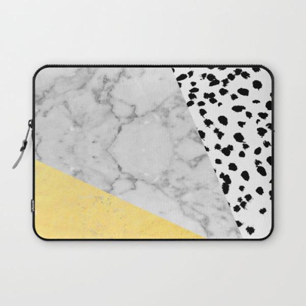 marble-gold-dots-modern-gold-foil-laptop-sleeve