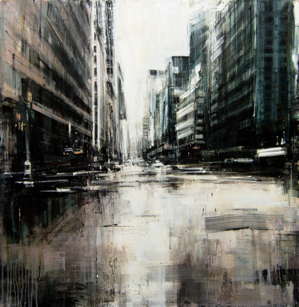Rainy Day in NYC, 2015, oil on canvas, 36x36in