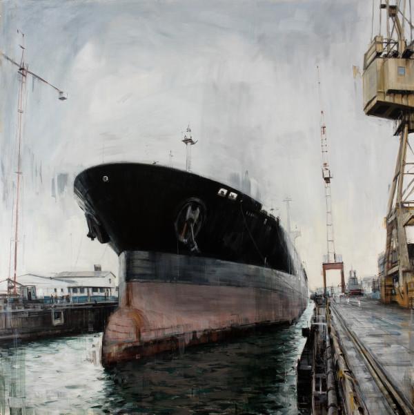 Shipyard, 2015, oil on panel, 48x48in