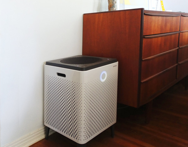Our sample review unit, shown in size comparison to our bedroom dresser. It's moderate size makes it easy enough to move around the house, if needed.