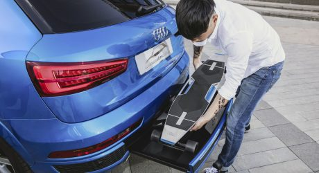Audi Connected Mobility Concept Car Hides an Electric Longboard In Its Bumper