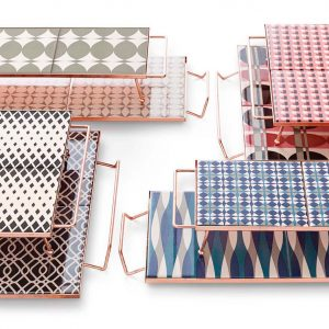 Handcrafted Geometric Trays by Flavia Del Pra for GAN